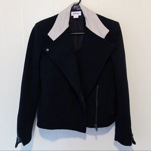 Helmut Lang Black Leather Collar Moto Jacket Small